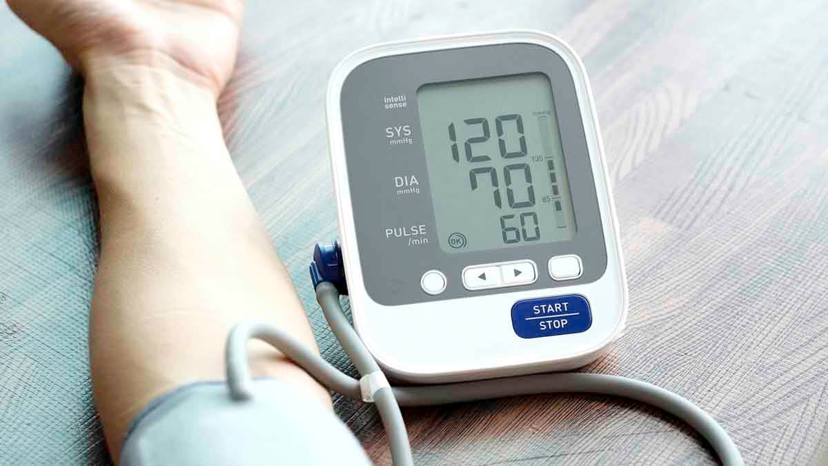 Person checking blood pressure levels